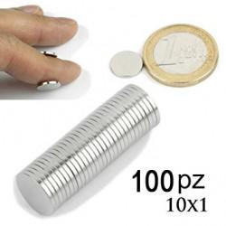 Magneti / Calamite Neodimio 10x1mm 100 Pezzi