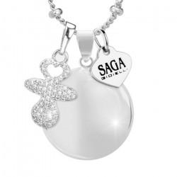 collana gravidanza chiama angeli - bola messicana - argento - sonaglio
